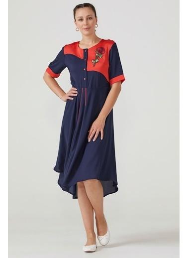 Sementa Büyük Beden Salaş Kadın Elbise - Lacivert Lacivert
